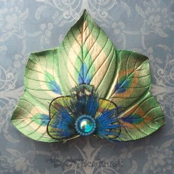 peacock fan barrette
