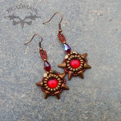 Ruby Spike beaded cabochon earrings