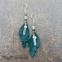 green leaf earrings with crystals