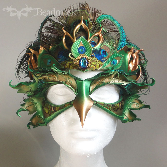 Peacock Mask And Crown Beadmask