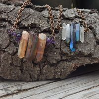 quartz crystal bar pendants