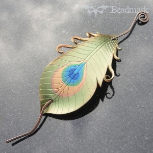 olive peacock feather hair slide