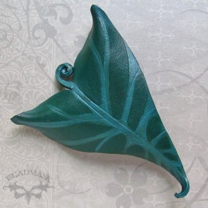 leather lily leaf barrette