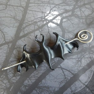 Gothic Leather Bat Barrette