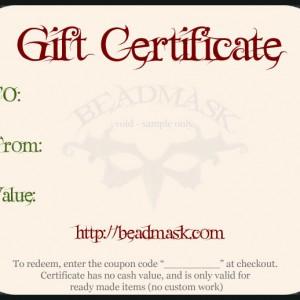 beadmask.com sample gift certificate
