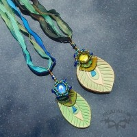 beaded leather peacock feather necklaces