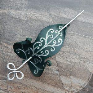 fantasy leather leaf barrette