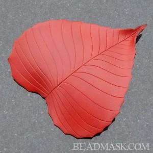 Leather birch leaf barrette