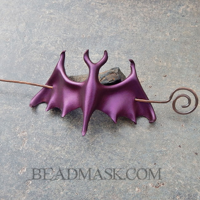 leather bat barrette
