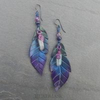 ombre leather feather earrings with titanium quartz earrings