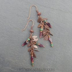Copper vine earrings with emerald and garnet
