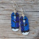 leather blue jay feather earrings with semiprecious stones