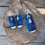 leather blue jay feather pendant and earrings with semiprecious stones