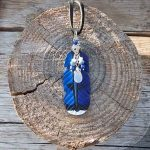 leather blue jay feather pendant with semiprecious stones