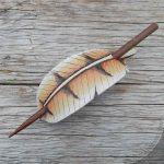 barn owl feather leather hair slide