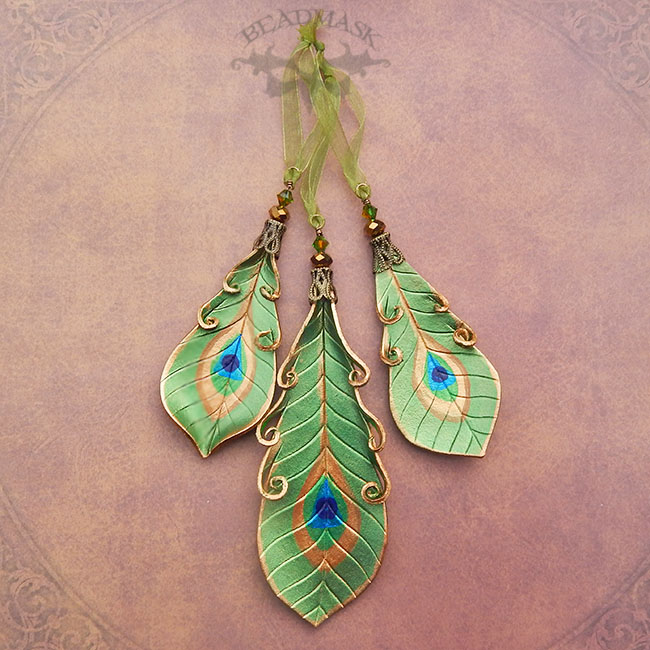 Leather Peacock Feather Holiday Ornaments - Beadmask