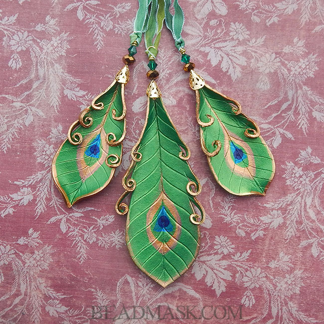 Leather Peacock Feather Holiday Ornaments