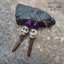 purple crystal and skull earrings