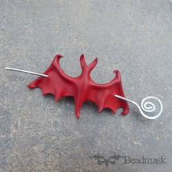 leather bat barrette in red