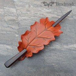 leather hair stick barrette autumn leaf