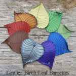 Leather birch leaf barrette colors