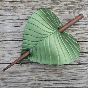 green leaf leather hairstick