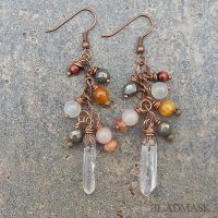 quartz crystal and semiprecious stone earrings