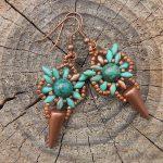 turquoise-copper-spike-earrings