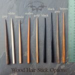 Wooden hair stick color choices