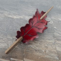 red oak leaf leather barrette