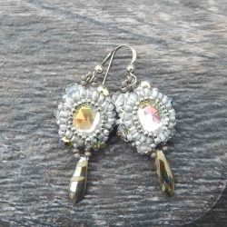 bead woven cabochon earrings in silver and crystal AB