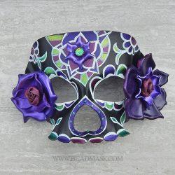 black and purple sugar skull mask