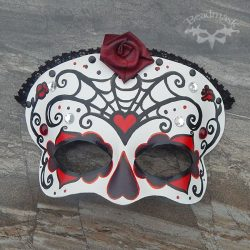 black and red leather calavera mask