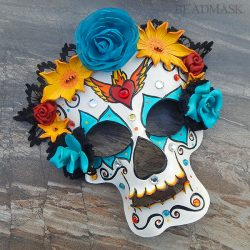 day of the dead leather mask with flower headdress
