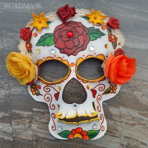 leather sugar skull mask with rose and marigold motif