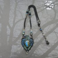 labradorite raven leather necklace