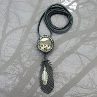 beaded jasper and black feather necklace