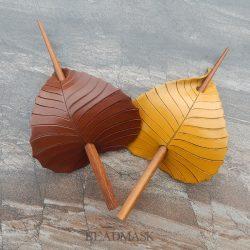 leather birch leaf barrettes