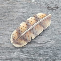 leather barn owl feather barrette