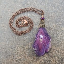 purple peacock feather pendant