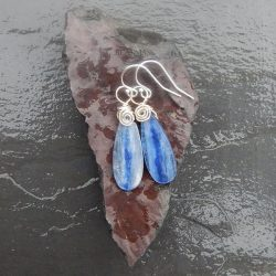 blue kyanite and sterling silver water drop earrings