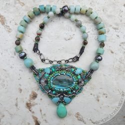 bead woven labradorite cabochon necklace in sage, seafoam and soft grey