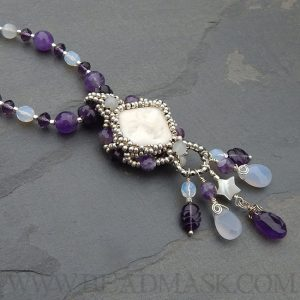 """Snow Moon"" February beaded necklace"