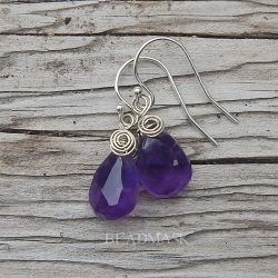 Faceted amethyst teardrop earrings with sterling silver wire wrap