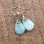 Peruvian Blue Opal & Sterling Silver Earrings