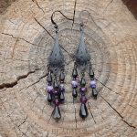 Dark Nouveau - black metal filigree chandelier earrings in black and purple.