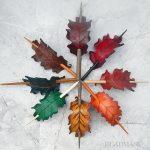 Leather oak leaf barrettes
