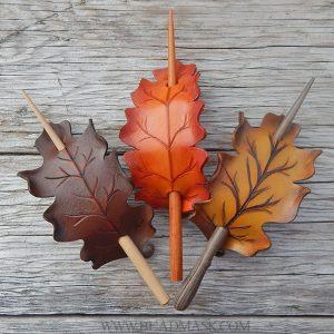 Leather oak leaf barrettes in fall colors