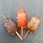 Leather oak leaf barrettes in autumn hues