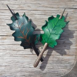 Leather oak leaf barrettes in shades of green